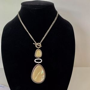 Lia Sophia Silver/ Cream Stone 2 in 1 Necklace